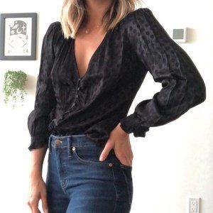 Madewell Smocked-Sleeve Daylight Top in Woven Dot